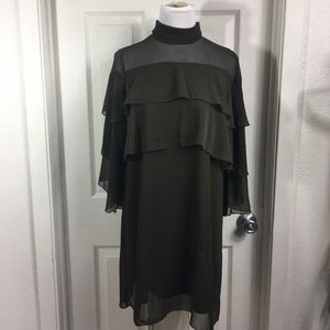 Zara High Neck Tiered Green Dress